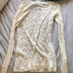 Moda International Tops - White lace long sleeve